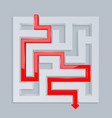 3d maze with red path top view vector image