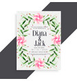 beautiful wedding invitation pink flower card vector image