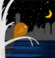 bird with night city vector image vector image