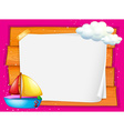 Border design with boat and clouds vector image vector image