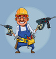 cartoon funny builder with tools on circle vector image
