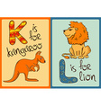 children alphabet with funny animals kangaroo