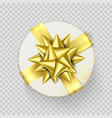 christmas gift box present white golden ribbon vector image