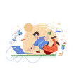 clever guy fly in work space vector image