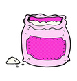 comic cartoon pink bag of flour vector image vector image