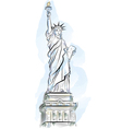 drawing color statue of liberty in new york usa vector image vector image
