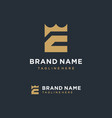 e initial with crown logo template vector image vector image