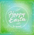 easter greetings hand lettering badge with floral vector image