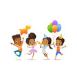 excited african-american boys and girls with the vector image