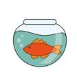 Fish animal cartoon inisde bowl design vector image vector image