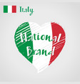 flag heart of italy national brand vector image vector image