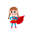flat girl kid in fancy super woman costume vector image vector image