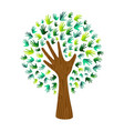 green eco hand print tree for nature help vector image