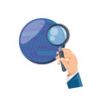 hand with magnifying glass and sphere planet vector image