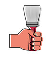 hand with paint brush vector image