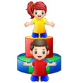 happy little kids playing with colored wooden toys vector image vector image