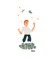 happy man businessman jumping under money rain vector image