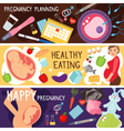 Happy pregnancy banners Pregnant woman lifestyle vector image vector image