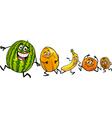 happy running fruits cartoon vector image vector image