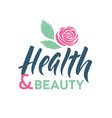 health and beauty studio logo stroke pink vector image vector image