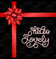 Holiday gift card with hand lettering hello lovely