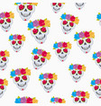 human skull and flower wreath seamless pattern vector image vector image