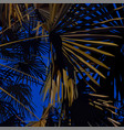 illuminated palm leaves on the night sky vector image vector image