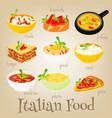 italian food set vector image vector image