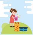 kids gift box image vector image