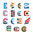 letter e icon font for corporate identity design vector image