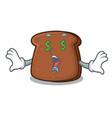 money eye brown bread mascot cartoon vector image vector image