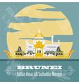 Nation of Brunei landmarks Retro styled image vector image vector image