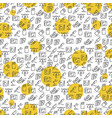 office icons seamless pattern with yellow rounds vector image vector image