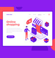 online shopping people and interact with shop vector image vector image