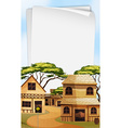Paper template with western town background vector image vector image