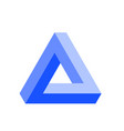 penrose triangle icon in blue geometric 3d object vector image vector image