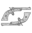 Pistols coloring book for adults vector image
