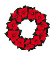 red poinsettia wreath vector image
