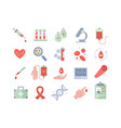 set colored medical and blood icons vector image vector image