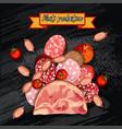 set of sausage bacon salami smoked boiled vector image vector image