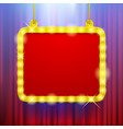 shining party banner on red curtain background in vector image vector image