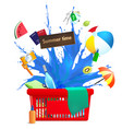 shopping cart with summer symbols vector image vector image