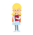 smiling school girl with textbook icon vector image vector image