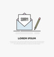 sorry concept written on white sheet vector image vector image