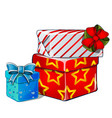 stack gift boxes blue and red ribbon bow vector image vector image