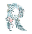 summer pattern hand drawn letter r palm leaves vector image