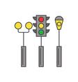 traffic light line icon concept traffic light vector image vector image