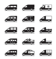 various types vans and pickups vector image vector image