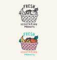 vegetables and fruits in basket logo vector image vector image