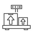 weighing delivery box icon outline style vector image vector image